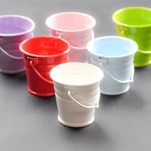White 4 cm metal bucket - Metal Buckets and Pots