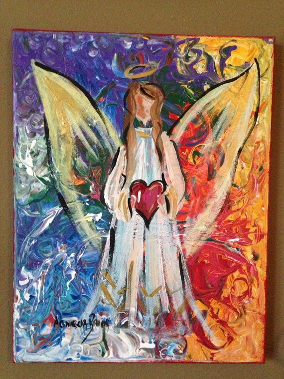 Original Angel Painting 11 X 14 by AgnieszkasArt on Etsy