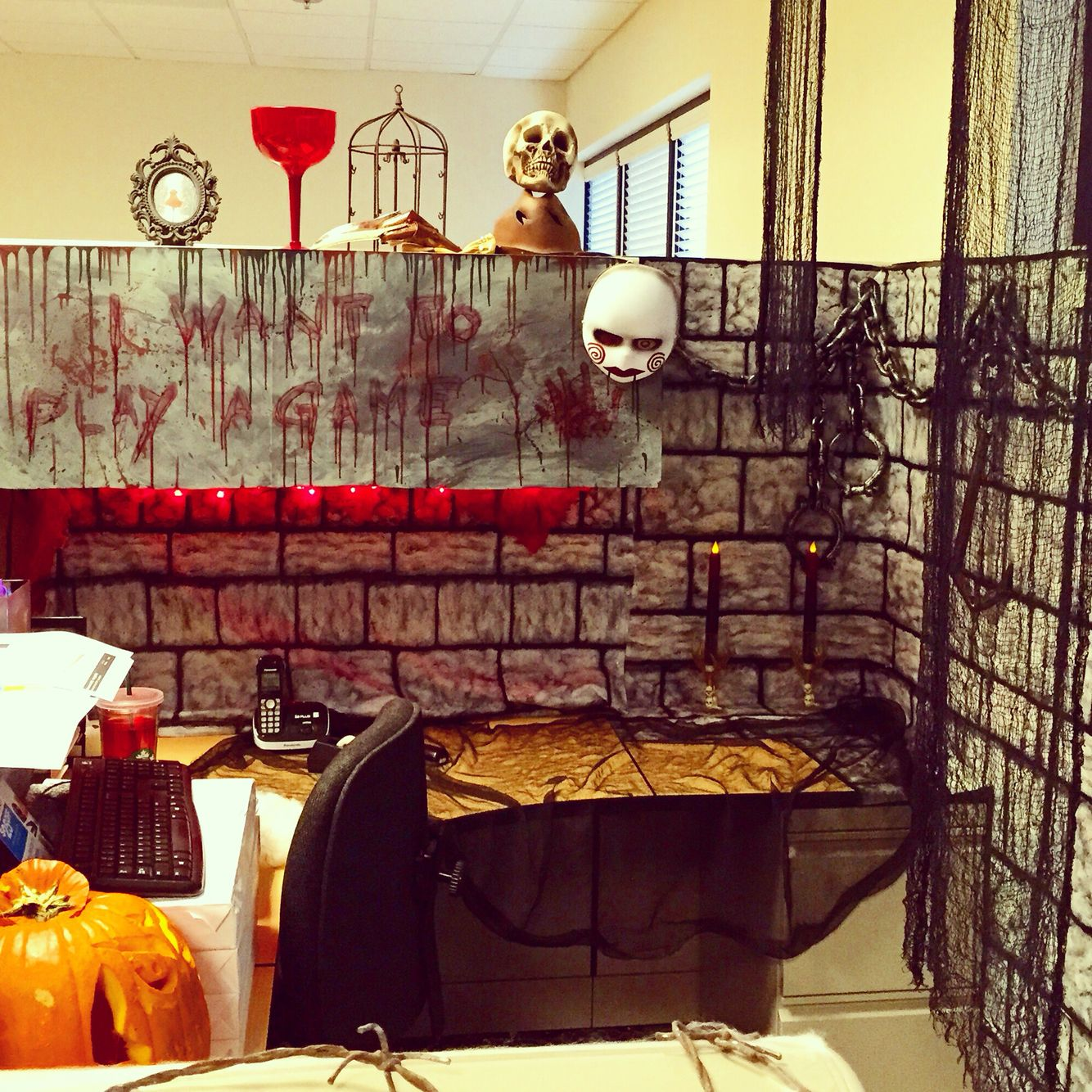 amusing halloween office decoration theme ideas | My Halloween decorations in my Cubicle at work ...