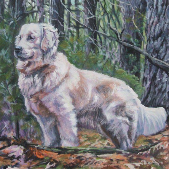 GOLDEN Retriever dog art portrait PRINT of LA Shepard painting 12x12