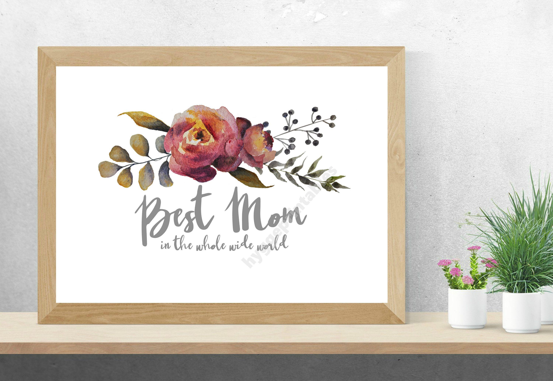 Best Mom Printable Digital Download Watercolor Print Mothers