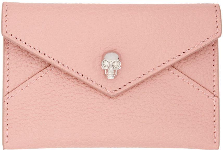 Alexander mcqueen pink skull envelope card holder card