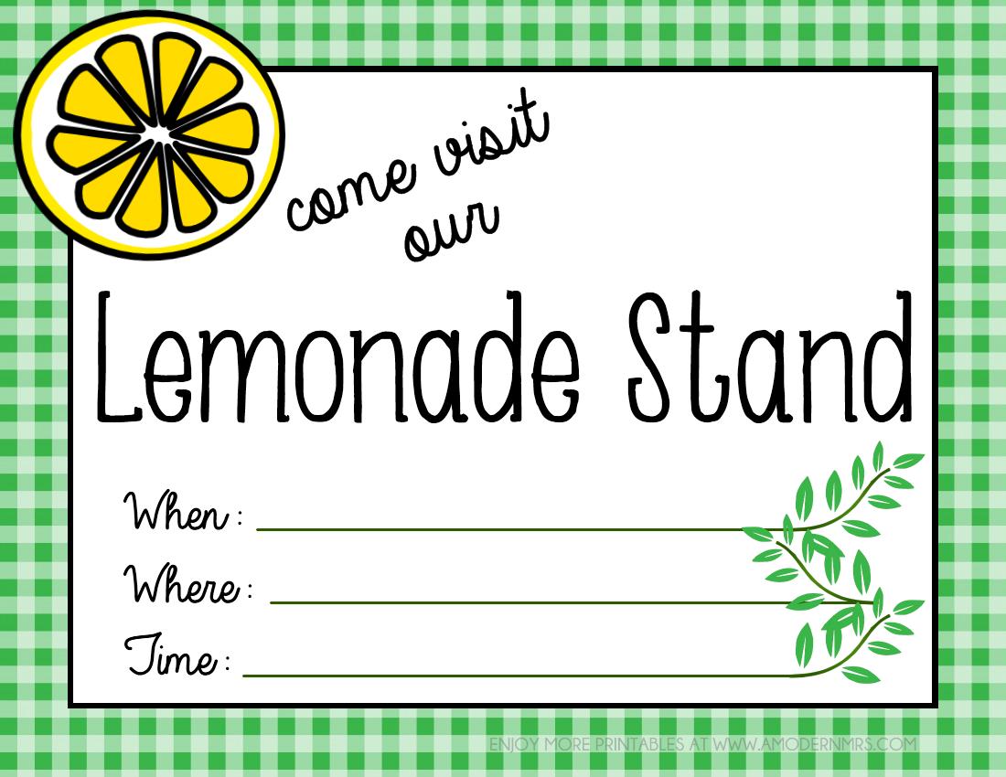 Printable Lemonade Stand Poster Menu A Modern Mrs Food Fashion And Family Fun Kids Lemonade Stands Lemonade Stand Sign Kids Lemonade