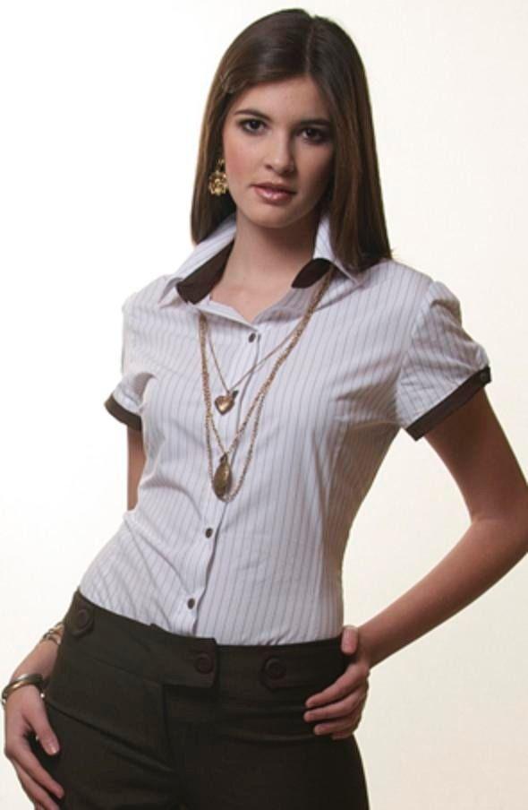 1fc847ea4721 Pin de Mariana Acosta en Moda | Blusas camiseras, Camisa uniforme y ...