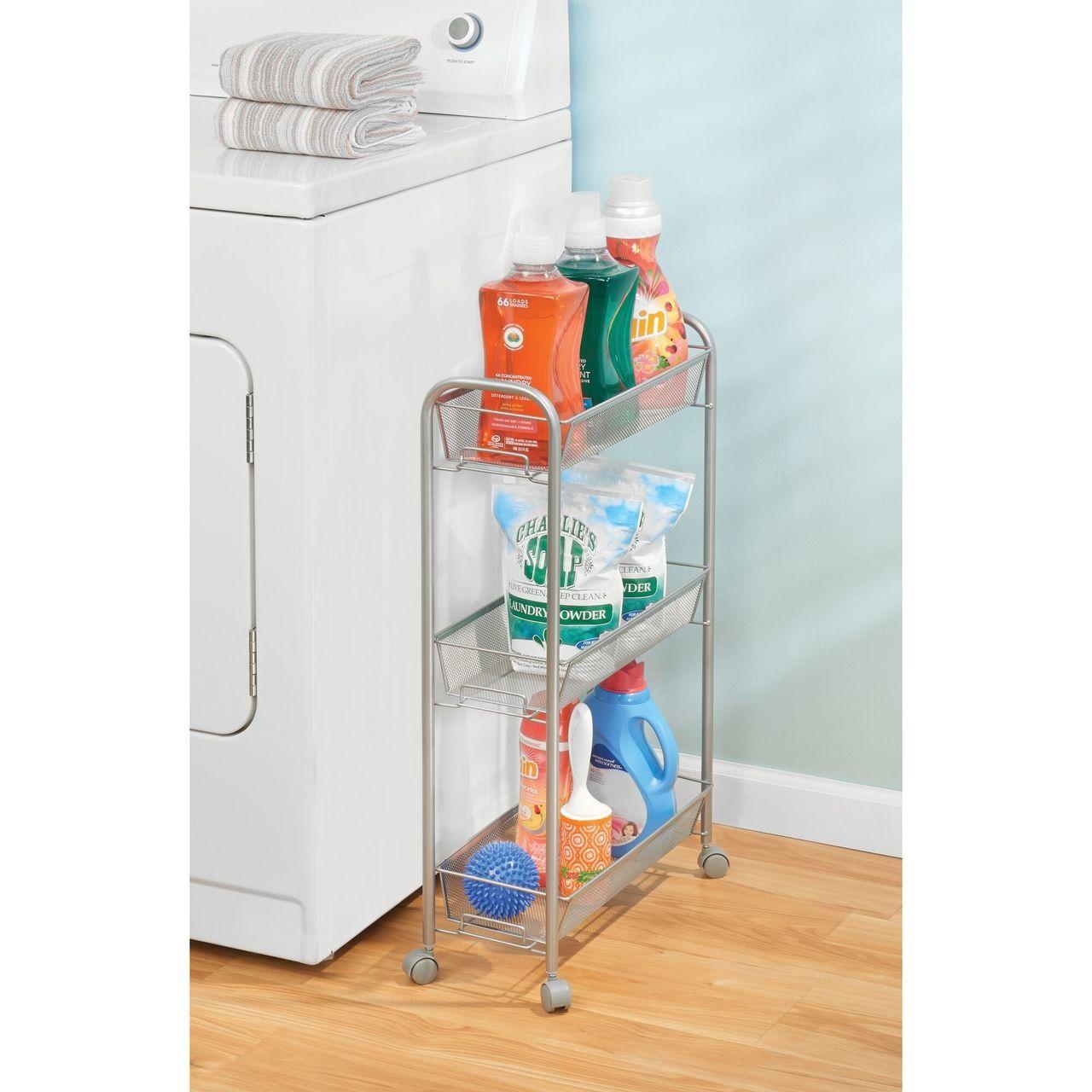 Slim Metal 3 Tier Rolling Laundry Cart Utility Shelf In 2020