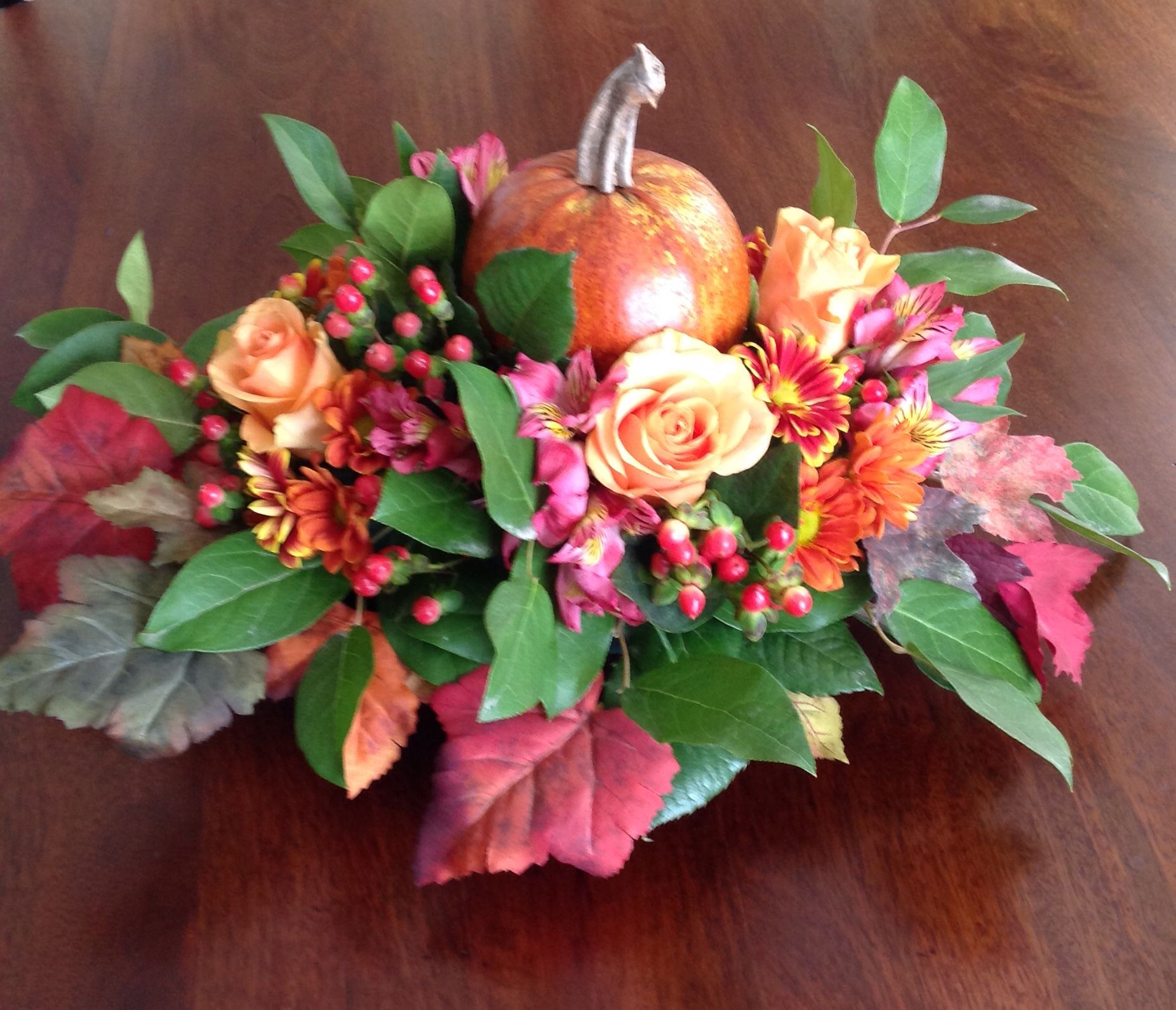 A combination of fresh and silk used to create this Thanksgiving centerpiece-Sweet Little Gardens Floral.