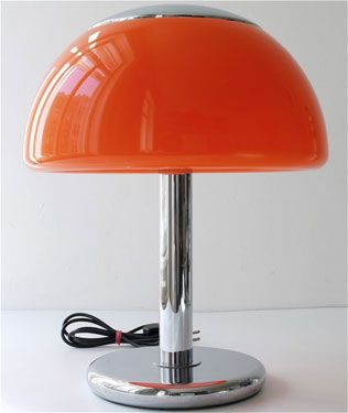 Ebay watch 1970s mushroom style table lamp in orange orange table lighting aloadofball