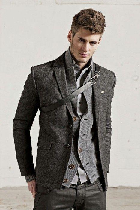 Men's Grey Shawl Cardigan, Charcoal Wool Blazer, Grey Long Sleeve ...