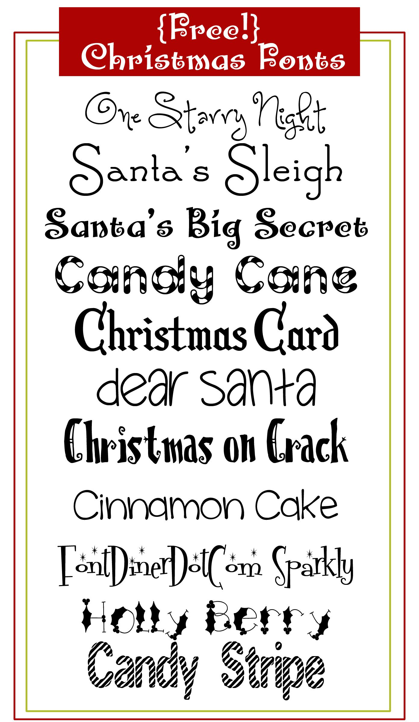 free christmas fonts use these to create abc sorts for preschoolers and word cards for the writing center - Christmas Fonts Free