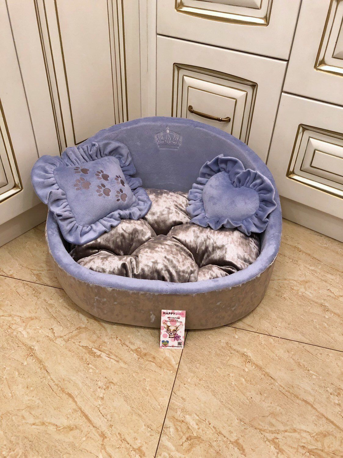 Lavender And Gray Crushed Velvet Princess Dog Bed Personalised Etsy Personalized Dog Beds Small Dog Accessories Designer Dog Beds