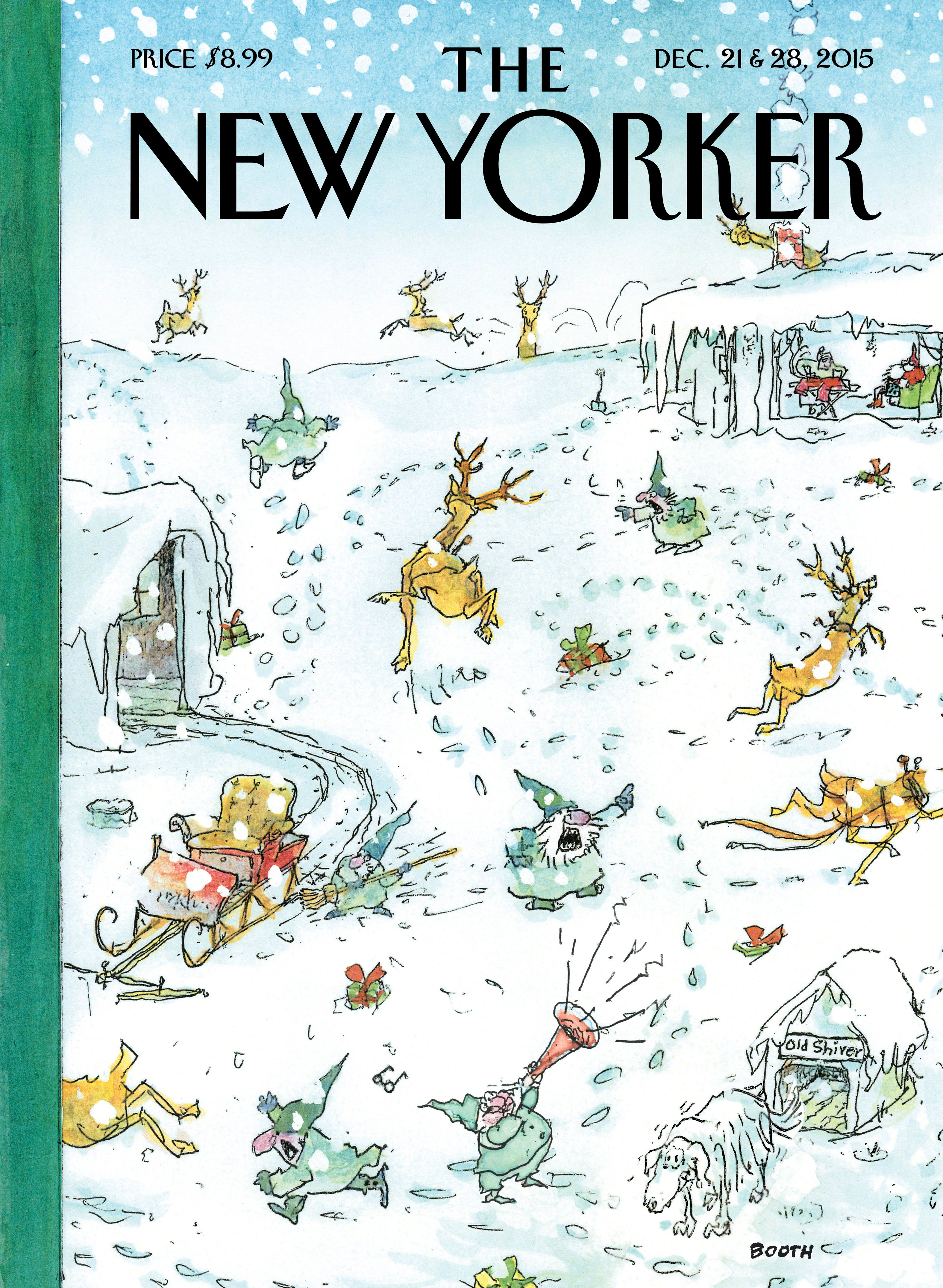 """The New Yorker - Monday, December 21, 2015 - Issue # 4620 - Vol. 91 - N° 41 - « World Changers » - Cover """"Holiday Spirit"""" by George Booth"""