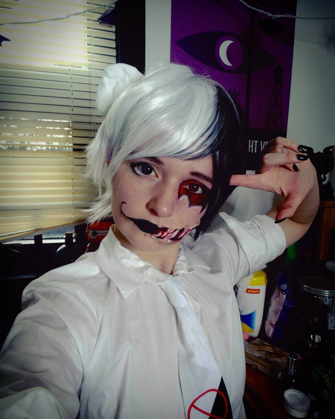 Working on editing a new monobear makeup tutorial it's taking so long though cuz there's so much raw footage  #cosplay #monobear #monobearcosplay #monokuma #monokumacosplay #cosplaymakeup #redcirclelenses #blackcirclelenses #danganronpa #danganronpacosplay