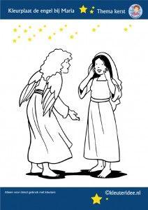 Kleurplaat De Engel Bij Maria Thema Kerst Voor Kleuters