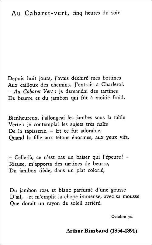 Souvent Arthur Rimbaud - Au Cabaret-vert, cinq heures du soir | Poèmes  EP27