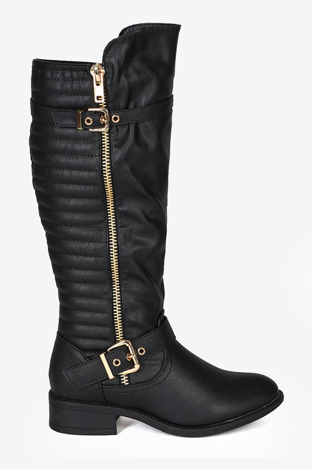 Knee High Ribbed Buckle Riding Boots