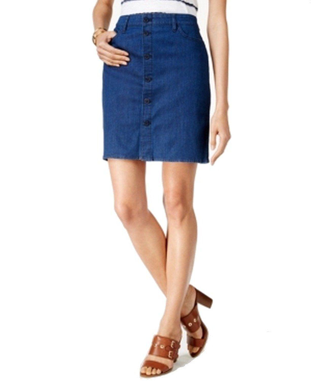 033e20aaae711 Tommy Hilfiger Womens Button Down Medium Wash Denim Skirt Blue 6 at ...