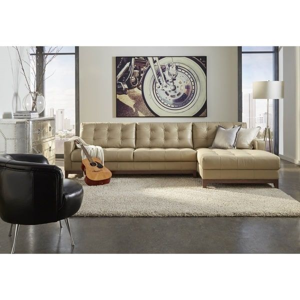 Lazzaro Leather Clayton Taupe Lsf Left Side Facing Sofa