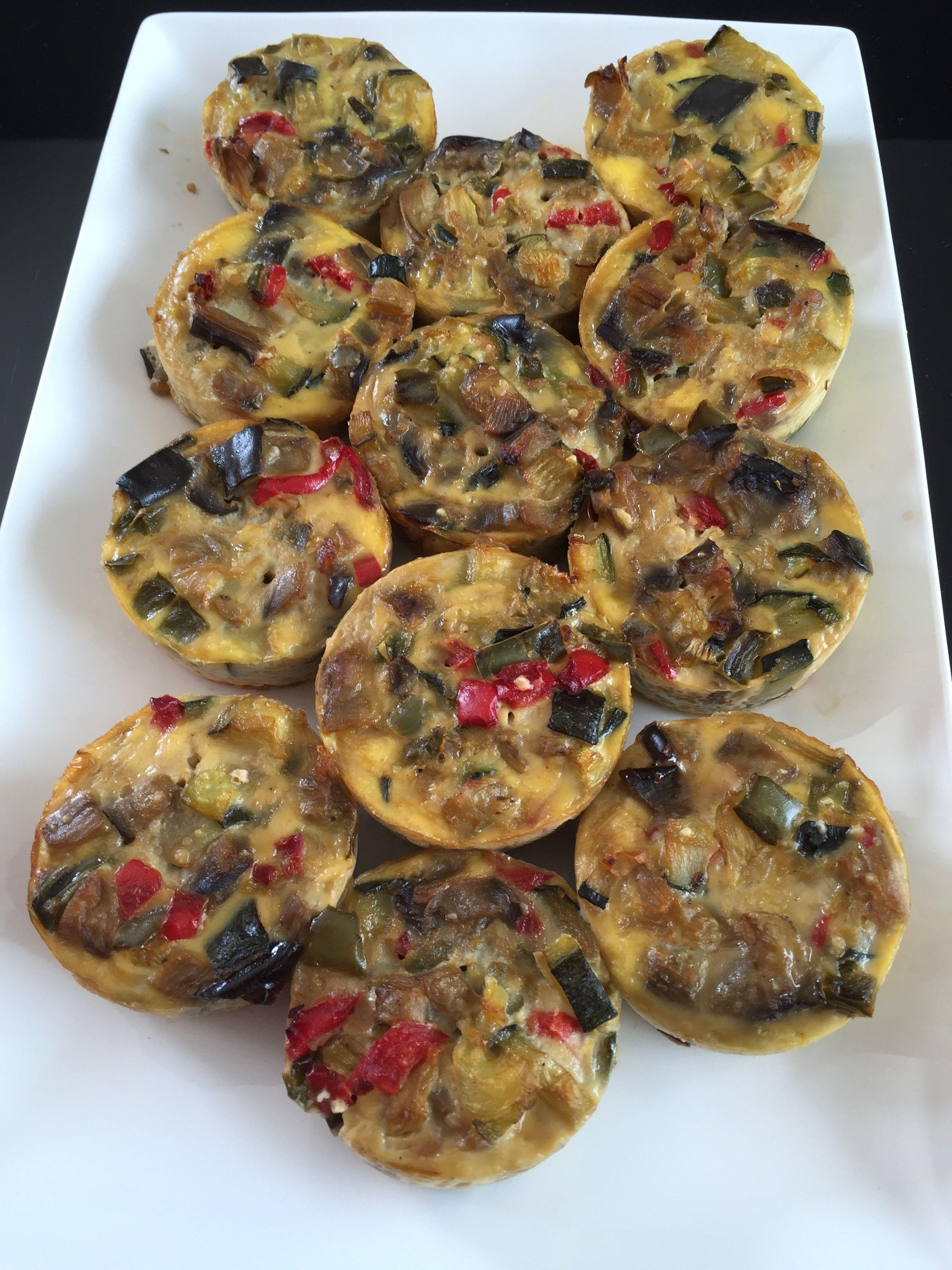 Tartelettes sans pâte aux légumes ou minis gratins aubergines, courgettes et poivrons