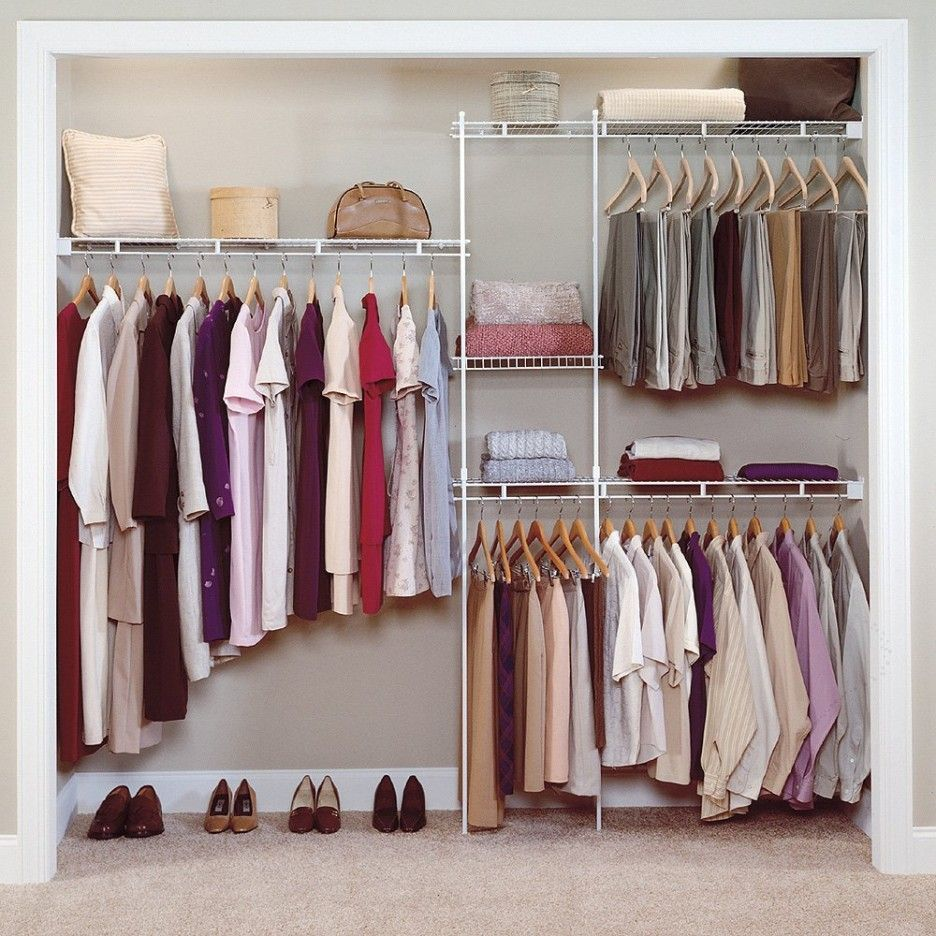 Closet Organizer Design Ideas Part - 38: Interior, Simple Walk In Closets Organizer With Wire Shelving Design Ideas  And Stainless Steel Pole With Cloth Hangers: Bed In Closet Ideas For  Compact Home ...