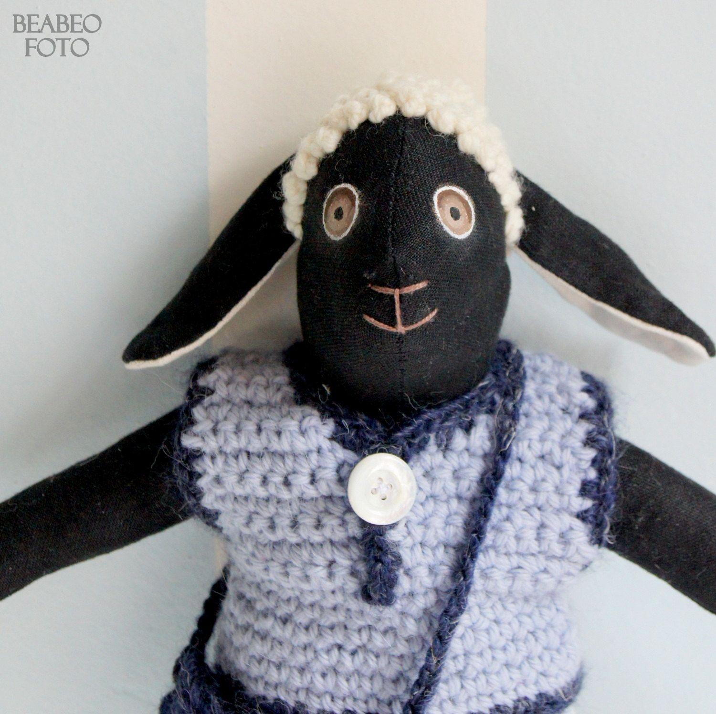 The lamb Beo, in a blue-grey vest by LaMaisonVerte on Etsy