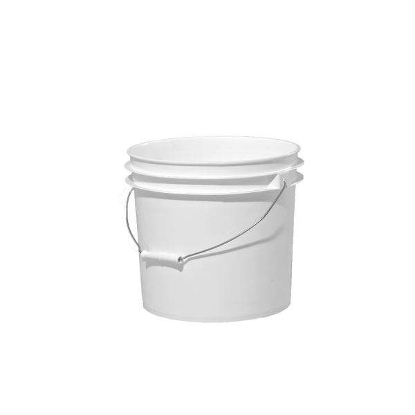 3 5 Gallon White Plastic Round Open Head Pail W Metal Bail With Images Plastic Pail Metal Containers Pail