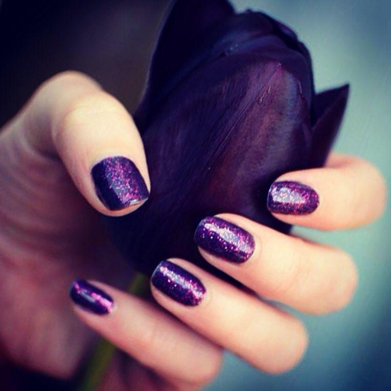 Deep purple with hot pink glitter gel nails (using Sensationail ...