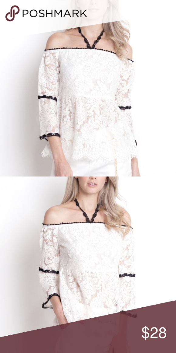 7164264985 LACE WITH CROCHET OFF THE SHOULDER TOP OFF WHITE LACE TOP WITH BLACK  DETAILS HWA Tops Blouses