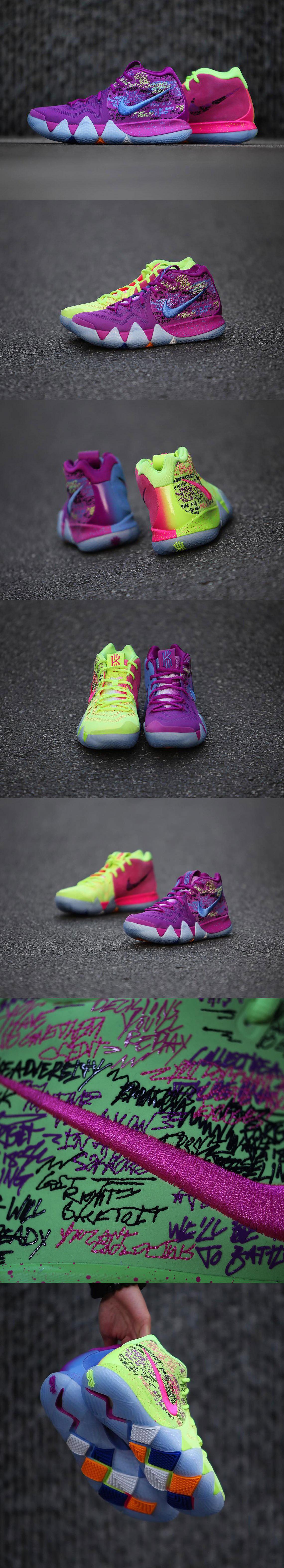 """free shipping c6eb3 9137f Nike Kyrie 4 """"Confetti""""   Kicks   Kyrie irving shoes, Nike ..."""