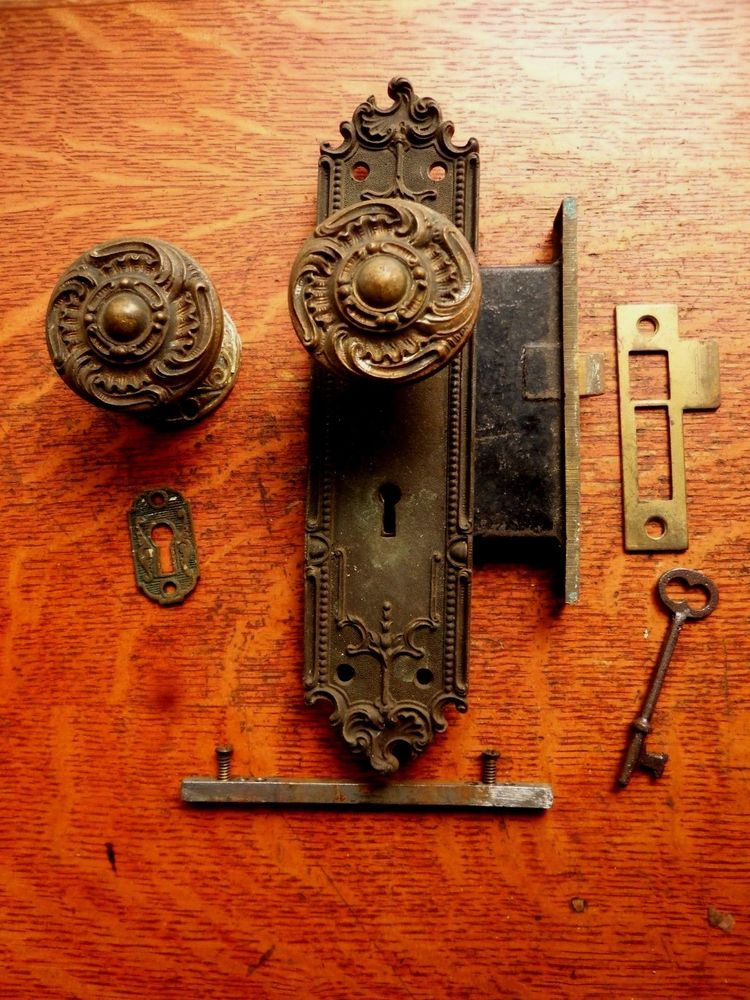 Antique Entry Door Set Bronze Doorknobs Doorplates Lock c1905 Corbin