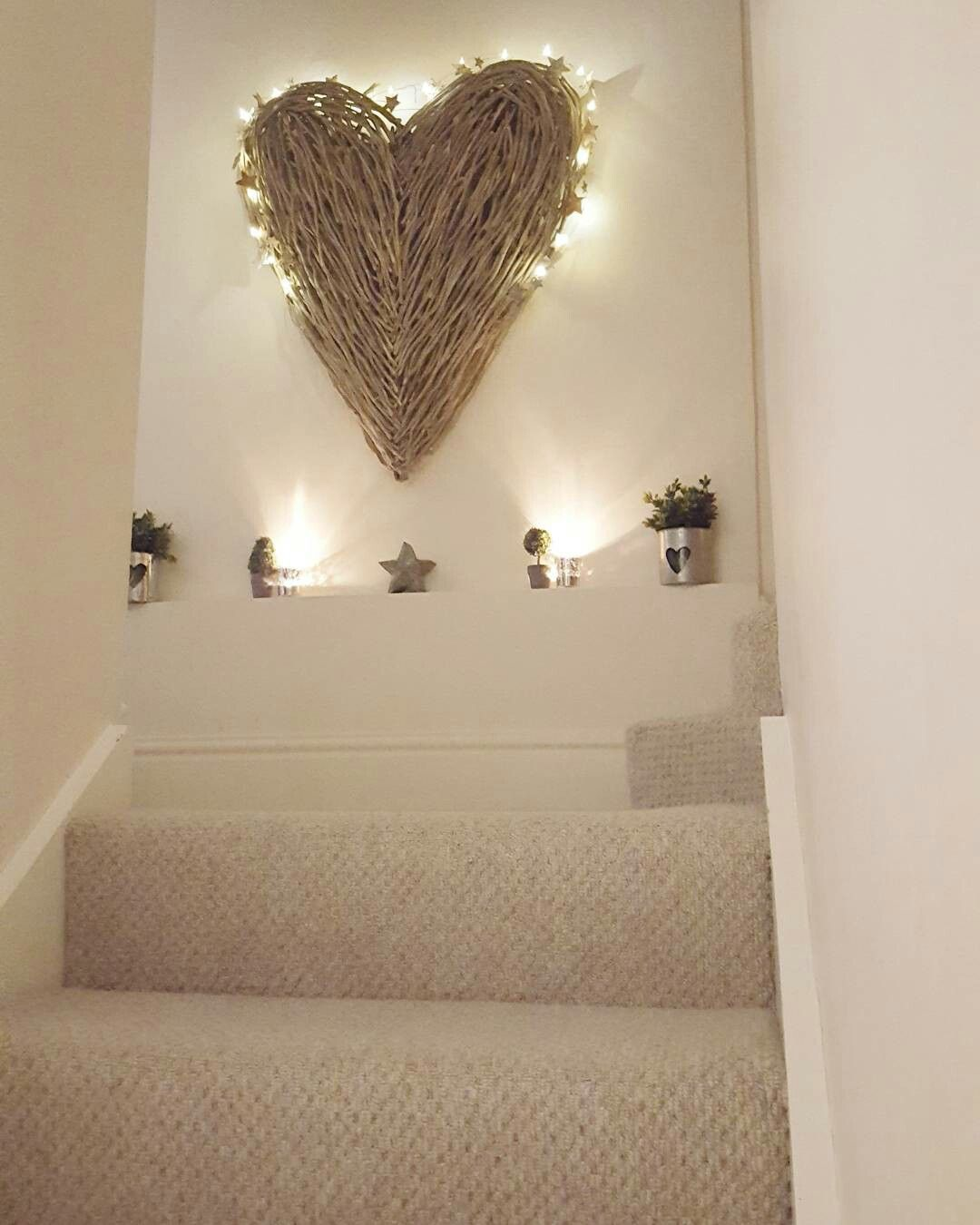 Extra Large Wicker Hearts Create A Feature Wall Www Westbarninteriors Co Uk Stairway Decorating Staircase Decor Stair