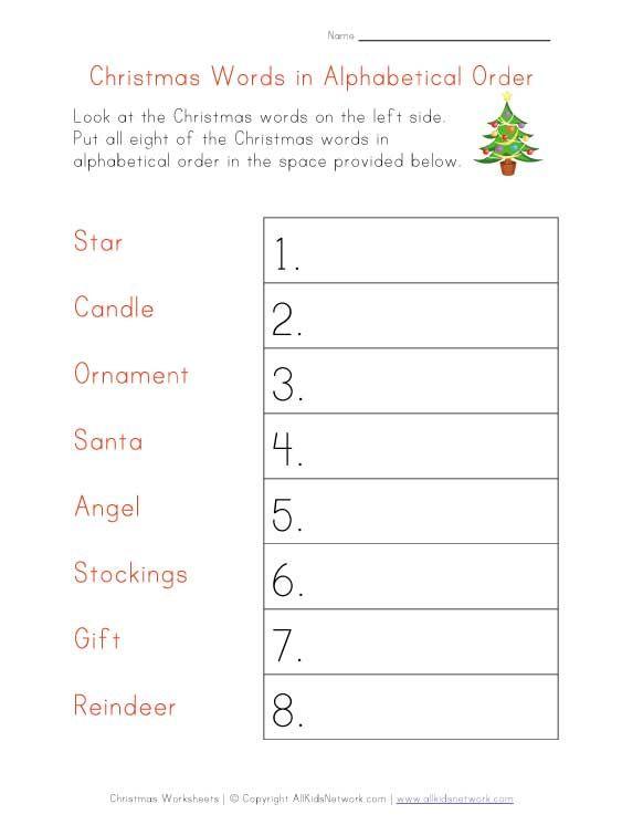 christmas worksheet alphabetical order christmas pinterest alphabetical order worksheets. Black Bedroom Furniture Sets. Home Design Ideas