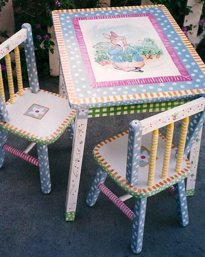 Hand Painted Peter Rabbit Table Chair Set Kids Furniture