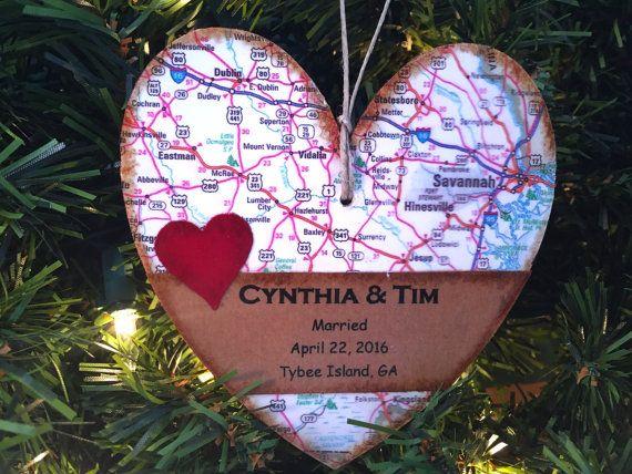 Personalized Wedding Ornament Custom Newlywed by AtHomeWithWords