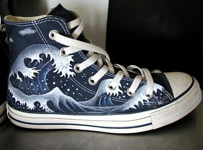 ab1aa1a0f478 Converse with painted Japanese style waves. Such a cool way to customize a  pair of shoes!