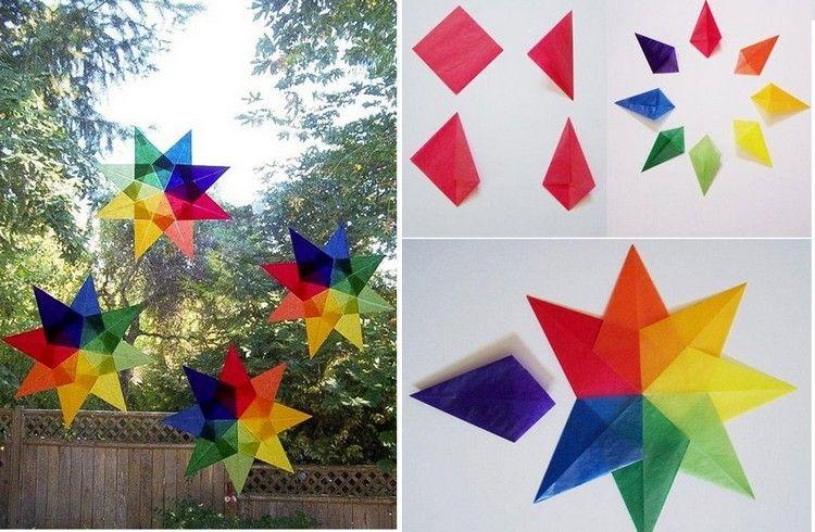 Sterne aus Transparentpapier basteln als Weihnachtsdeko für Fenster