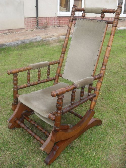 Victorian Turned Beechwood American Rocking Chair