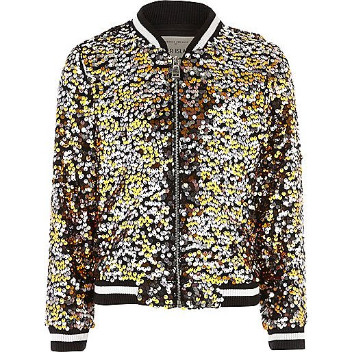 8bf7f022156 Black multicoloured sequin bomber jacket