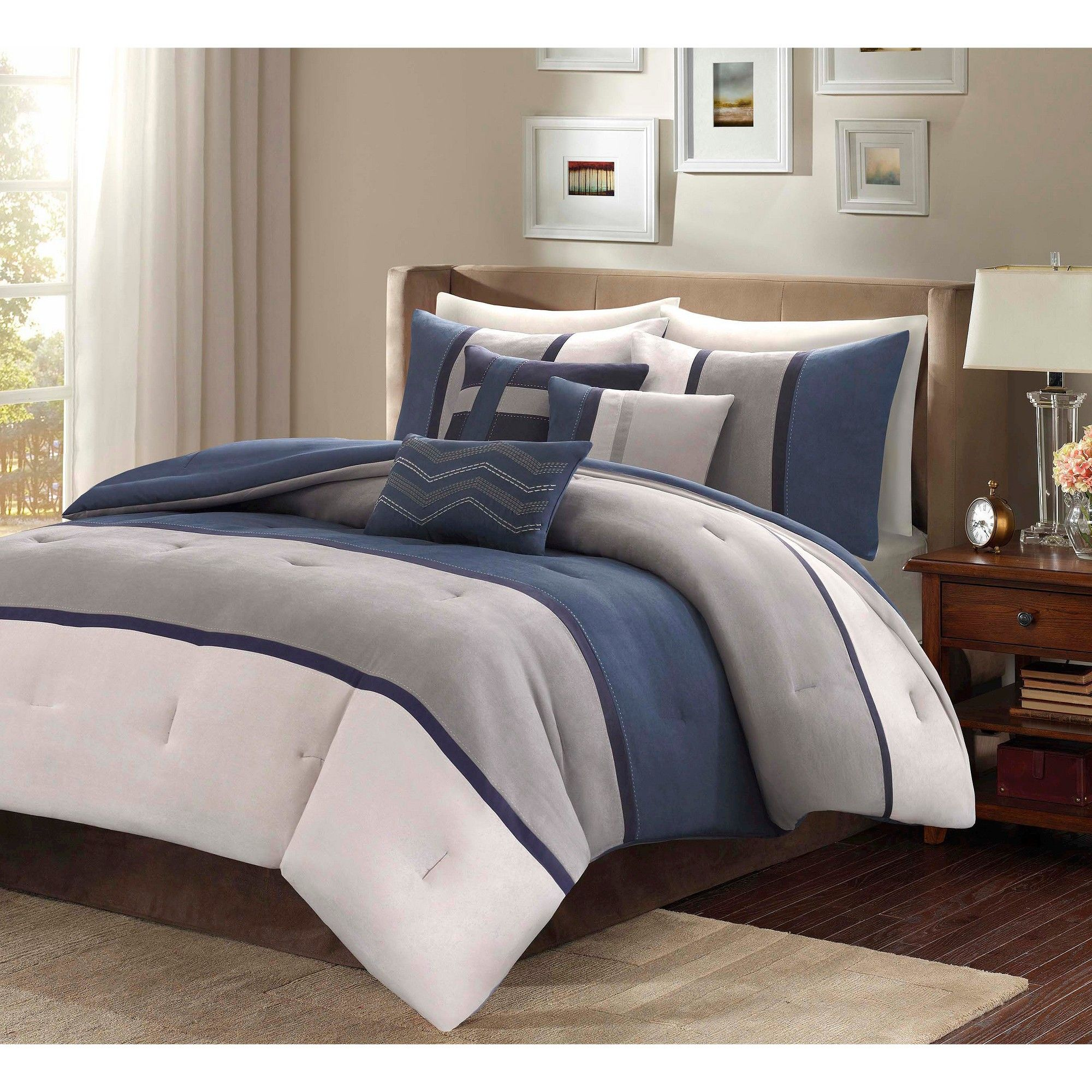 Blue Overland Microsuede Comforter Set California King 7pc Homa