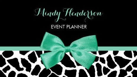 Event planner pretty giraffe print mint green bow business cards event planner pretty giraffe print mint green bow business cards http reheart Gallery