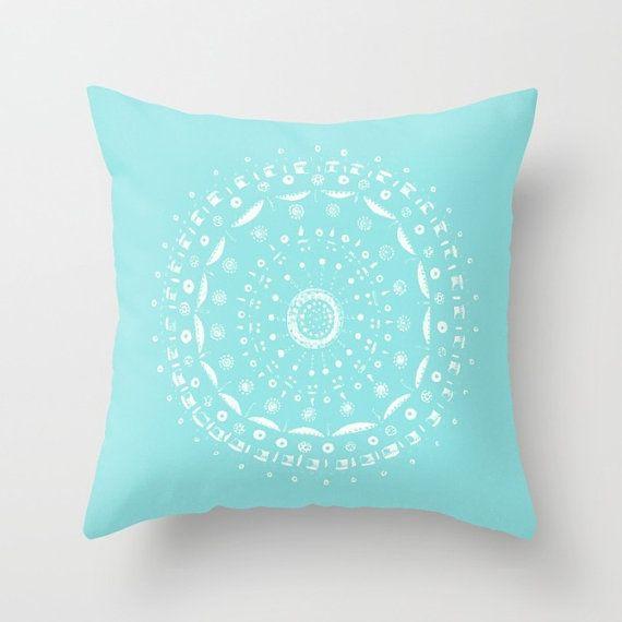 Light Blue Mandala Throw Pillow Cover blue mandala by ...