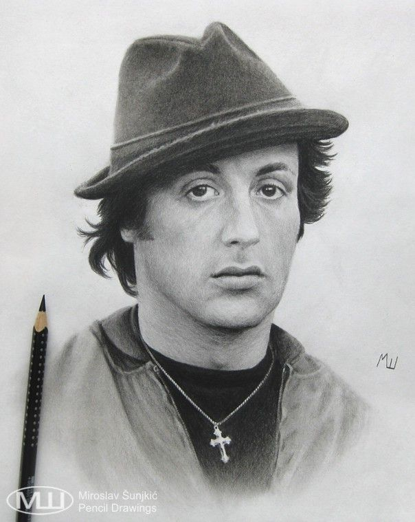 Pencil Drawing Of Sylvester Stallone As Rocky Balboa With Images
