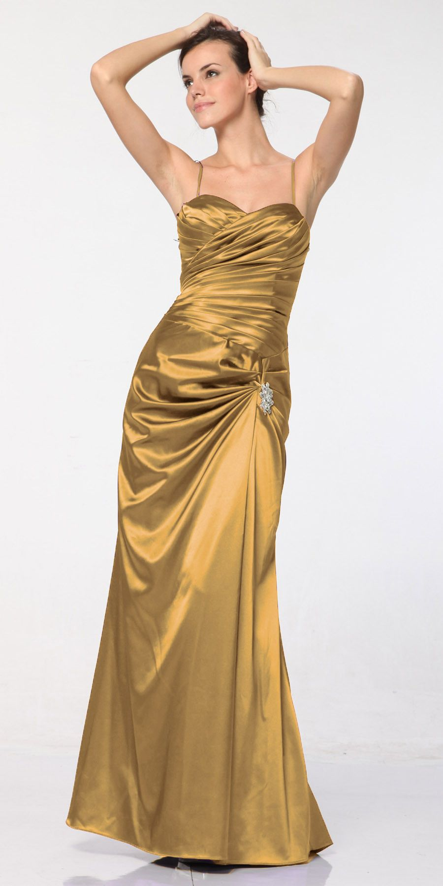 CLEARANCE - Plus Size Gold Satin Dress Pleated Bodice Strapless ...