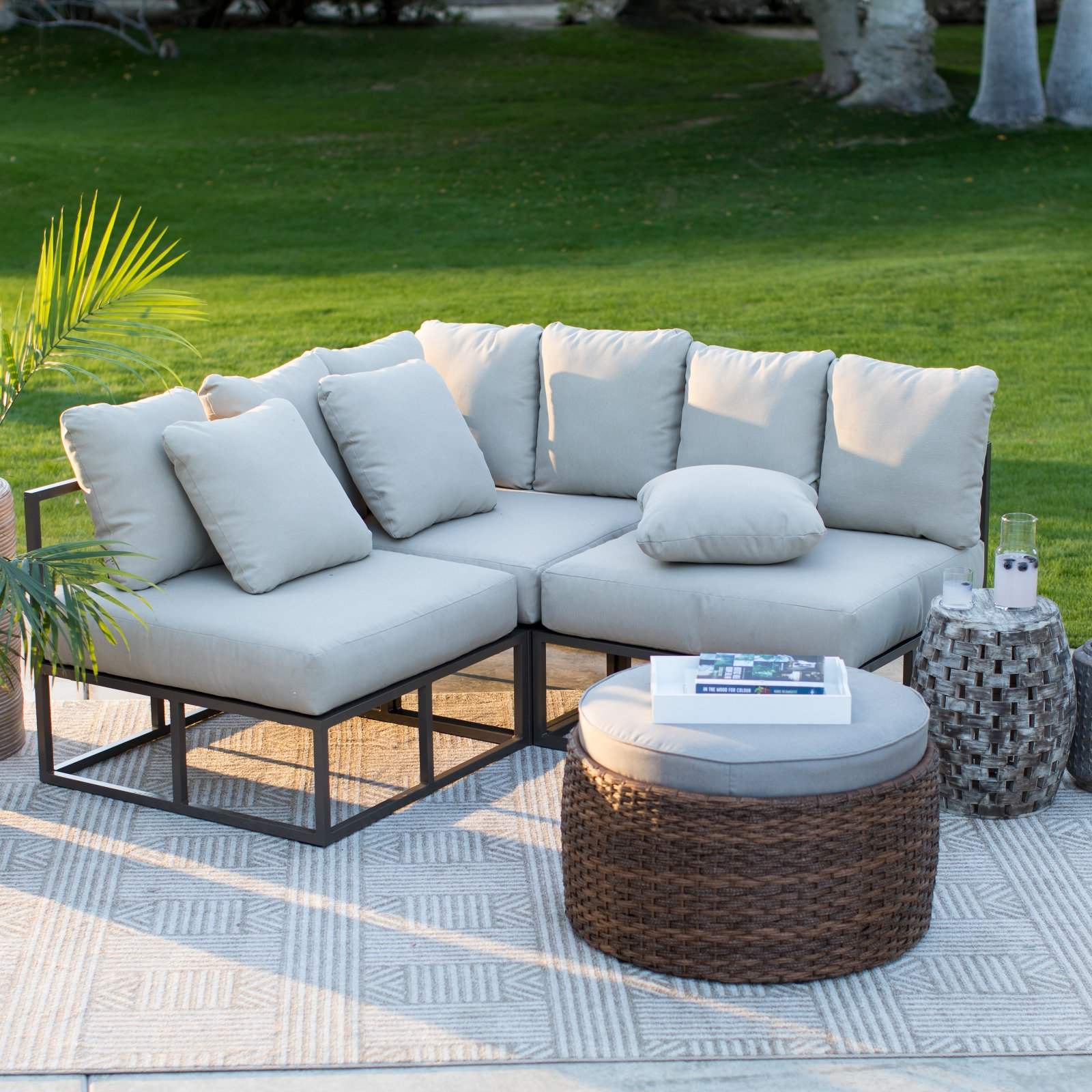 Best Belham Living Bonaire Aluminum 3 Piece Outdoor Sectional 400 x 300