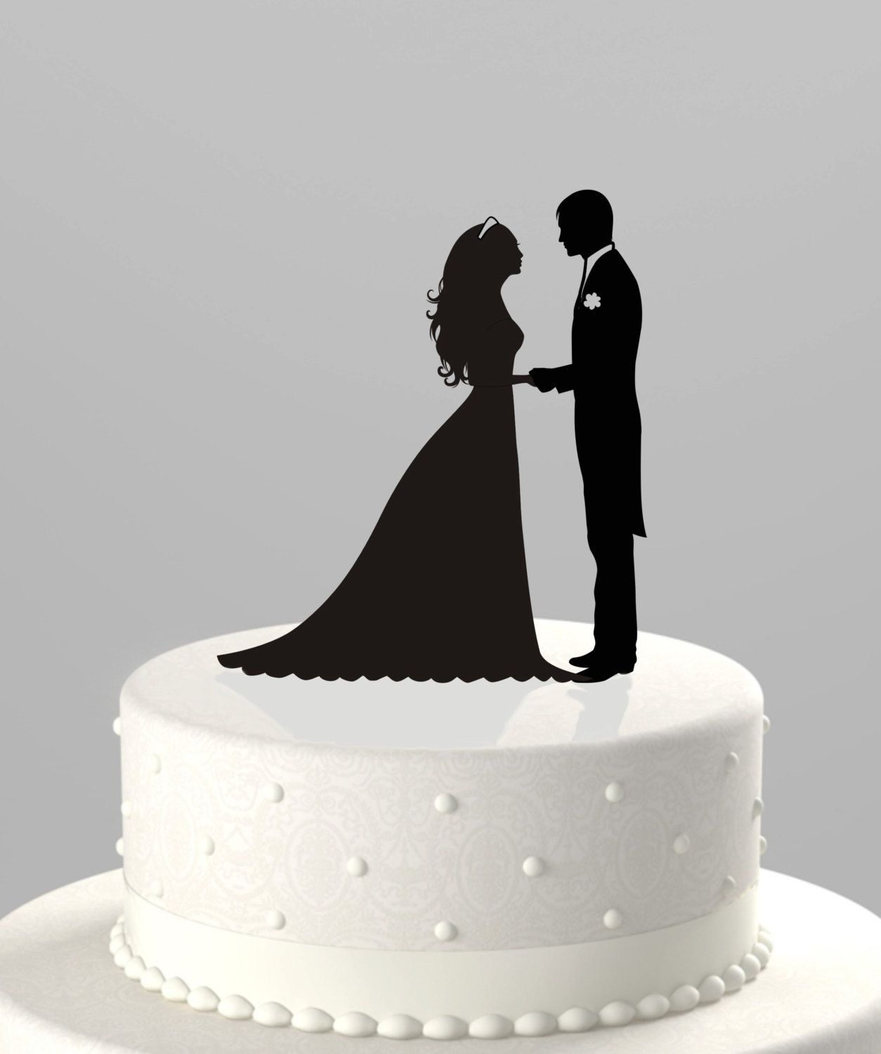 Wedding Cake Topper Silhouette Groom and Bride Acrylic Cake Topper ...