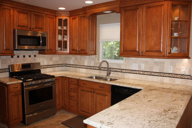 Colonial Kitchen Cabinets | kitchen backsplash with Colonial Cream ...