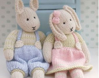 2 Teddy Bear Knitting Pattern Deal/ TEAROOM Girl and Boy Bear Toy Patterns/ INSTANT Download/ Small Knitted Bears #dollhats