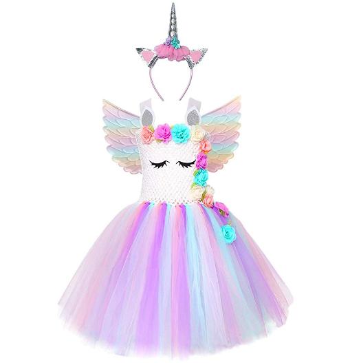 Girls Unicorn Tutu Costume LED Princess Dress Up Halloween Outfit with Headband and Wings