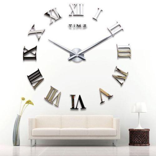yosoo diy 3d horloge murale design géante grande taille moderne