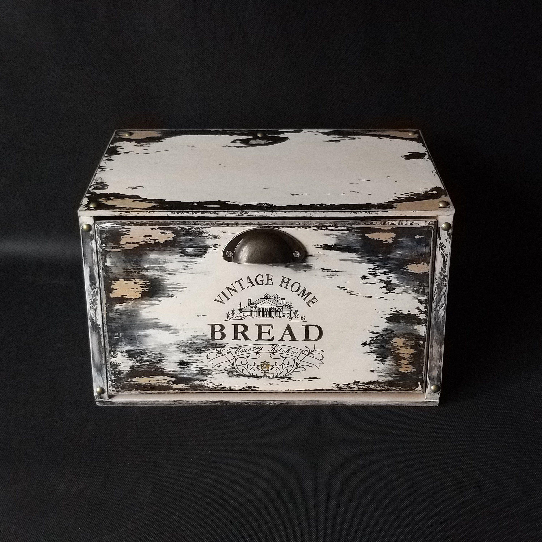 Wooden Bread Box For Modern Farmhouse Kitchen Bread Storage Farmhouse Bread Box Kitchen Counter Farmhouse Bread Boxes Bread Storage Kitchen Counter Storage