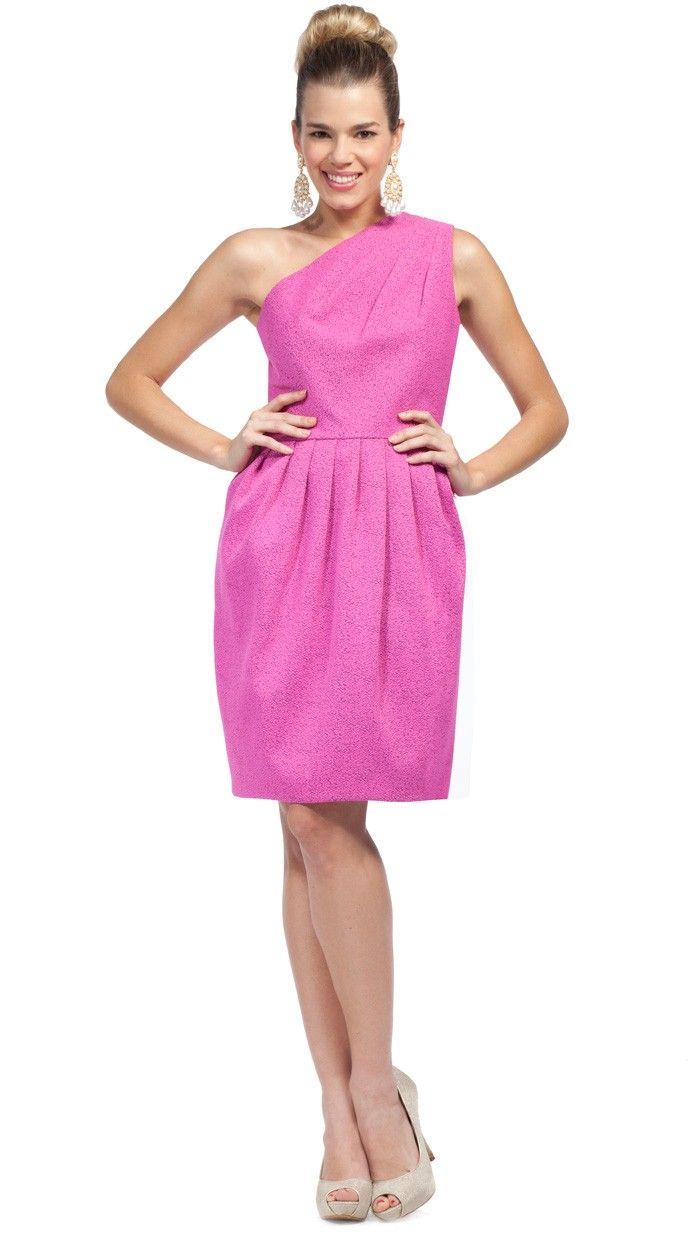 HALSTON HERITAGE - Vestido corto asimétrico rosa muy favorecedor y ...